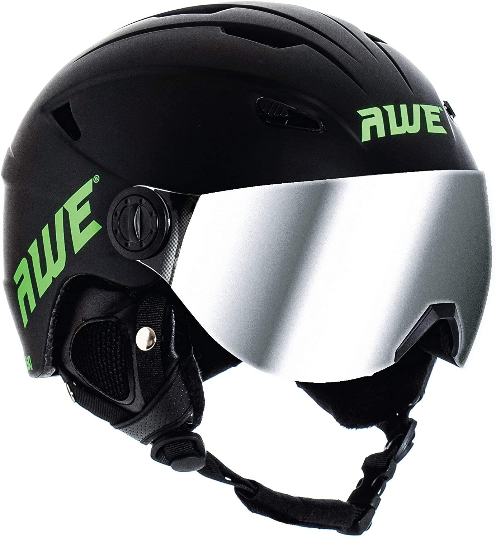 AWE Snowboard Freeride VISOR SUPER LIGHTWEIGHT In Mould Ski Helmet Black 58-61cm