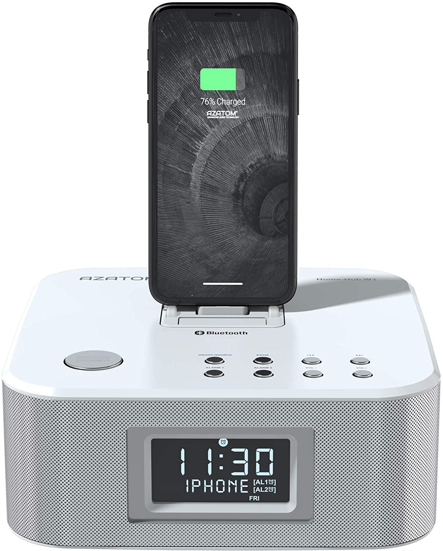 AZATOM Homehub Clock Radio Alarm Lightning Docking station speaker 30W Bluetooth for iPhone 11, Pro Max 11, XR, XS, X, 8, 7, 6, 5, SE, Touch 6G 5G, iPa