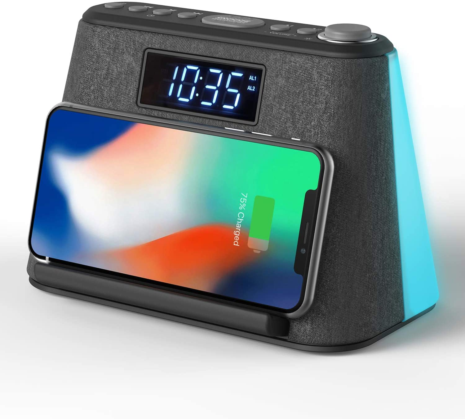 Alarm Clock Bedside FM Radio Non Ticking with USB Charger & Wireless QI Charging, Bluetooth Speaker, RGB LED Night Light, Dimmable Display and White