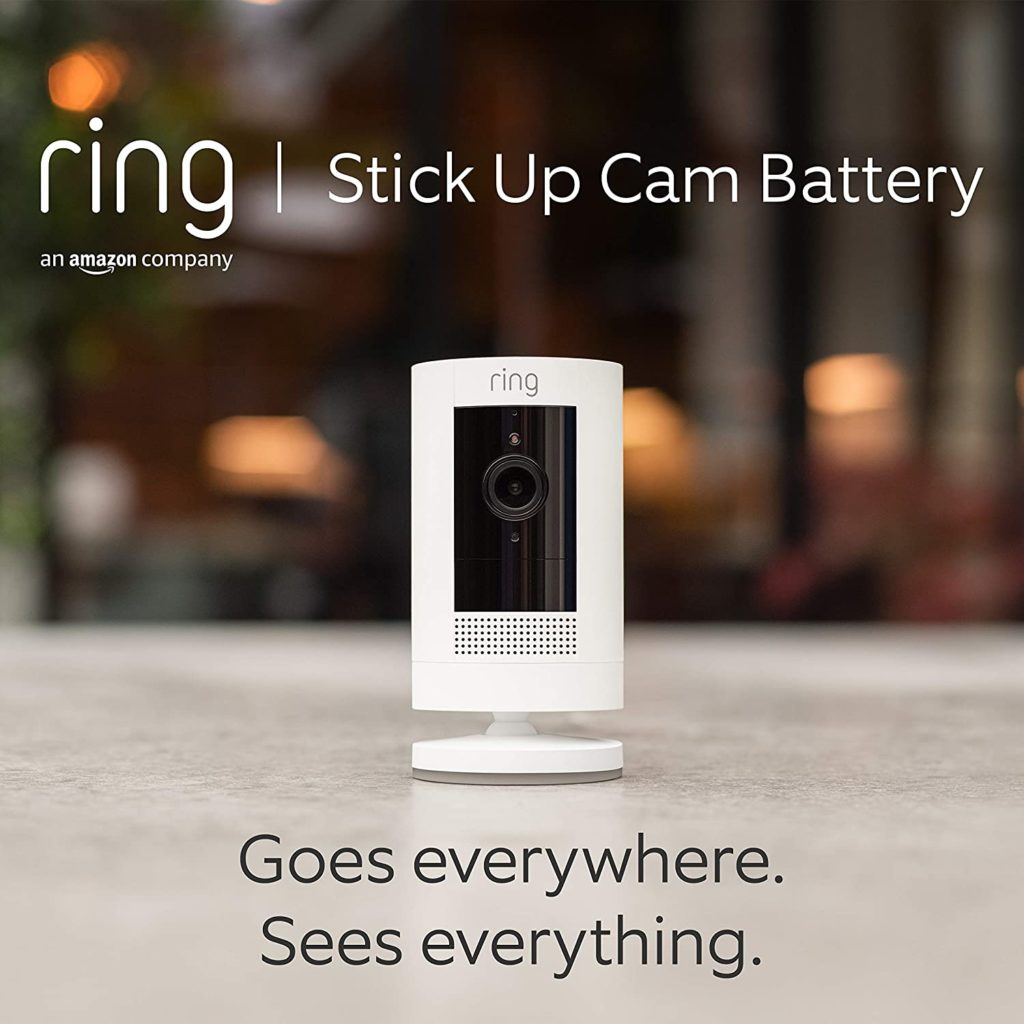 All-new Ring Stick Up Cam Battery | HD security camera with Two-Way Talk, Works with Alexa | With 30-day free trial of Ring Protect Plan | White
