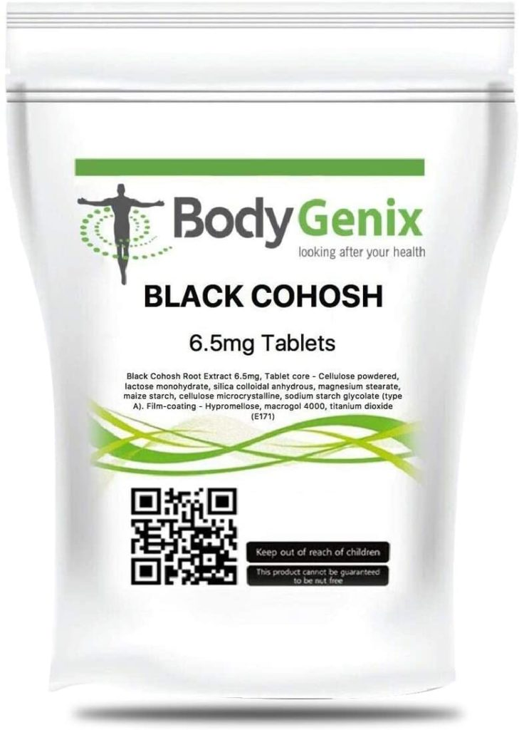 Bodygenix Black Cohosh supplement | tablets for pre-menstruation and menopause | support mood and steady nerves | 6.5mg 30 Tablets