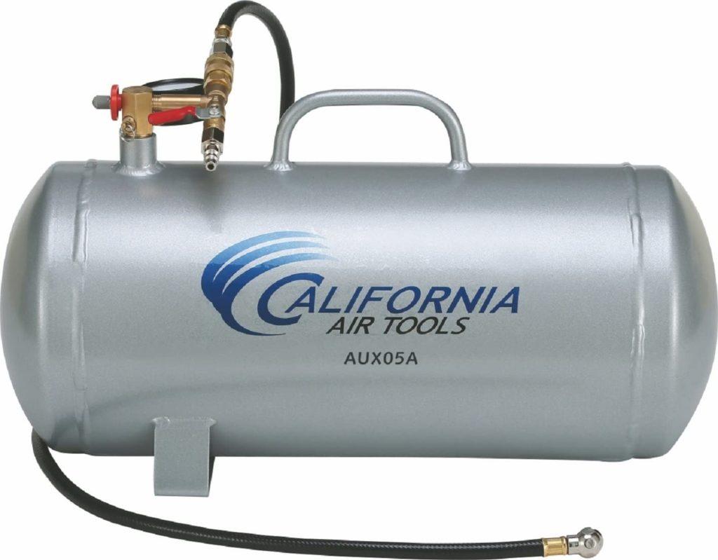 California Air Tools CAT-AUX05A Lightweight Portable Aluminum Air Tank, 5 Gallon, Silver