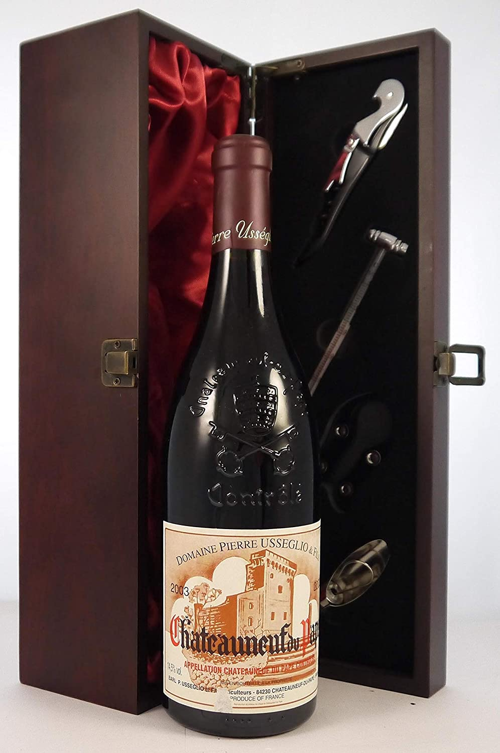 Chateauneuf du Pape 2003 Pierre Usseglio vintage wine in a silk lined wooden box with four wine accessories, 1 x 750ml