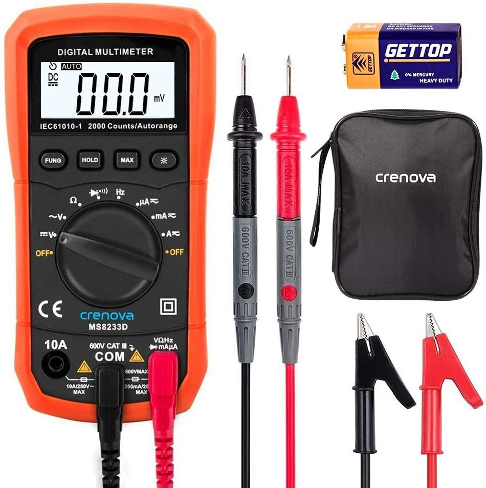 Crenova Digital Multimeter AC Voltage Detector Portable Tester Meter with Backlight