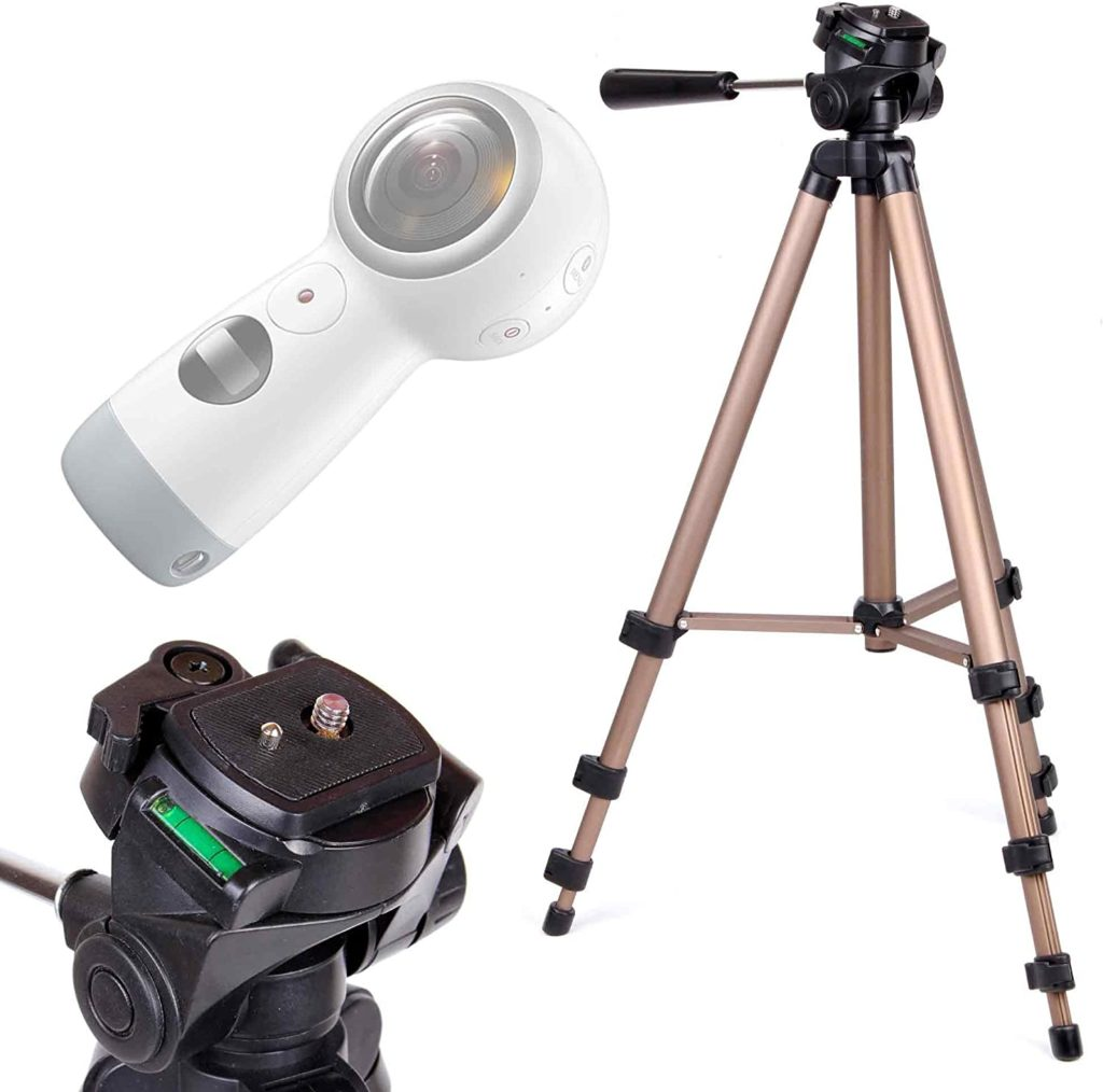 DURAGADGET Camera Tripod with Extendable Legs and Ball-Tilt Head in Black & Gold - Compatible with the Samsung Gear 360 Camera & Samsung Gear 360 (2017)