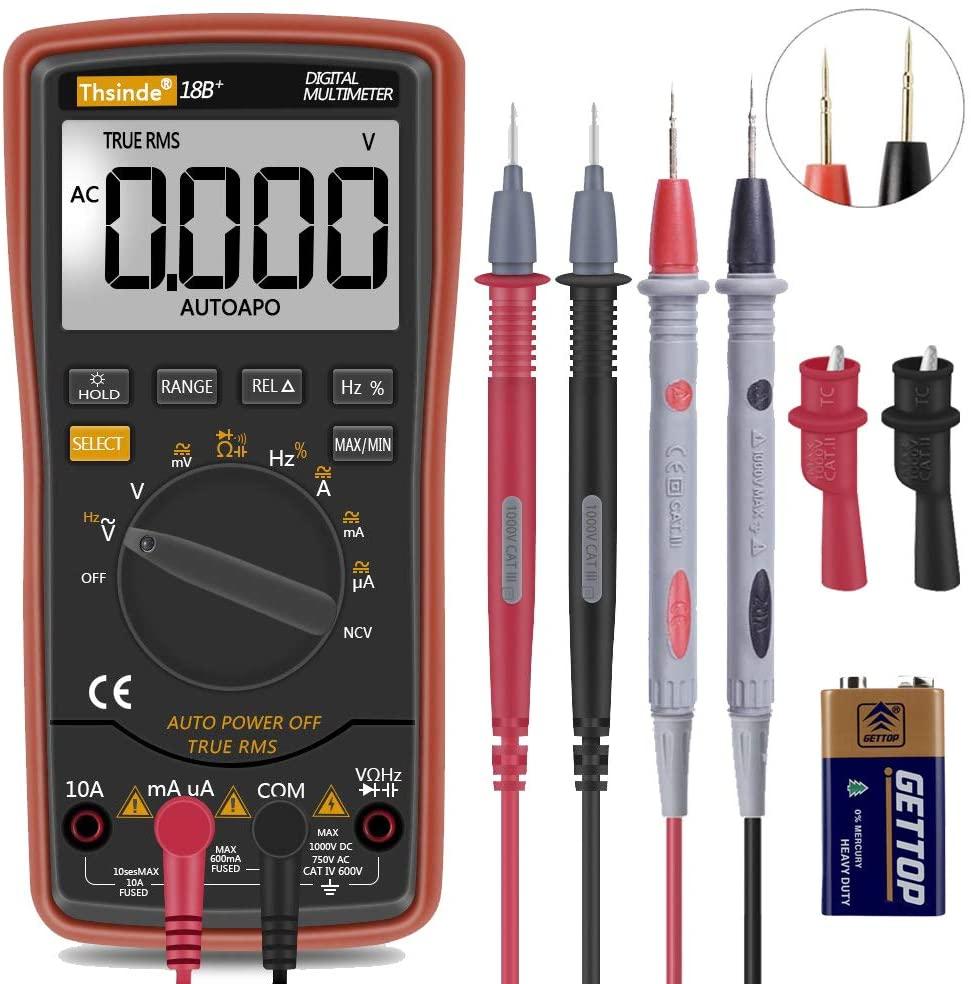 Digital Multimeter,Thsinde Auto-Ranging Digital Multimeter with Alligator Clips, AC Voltage Tester,Voltage Alert, Amp/Ohm/Volt Multi