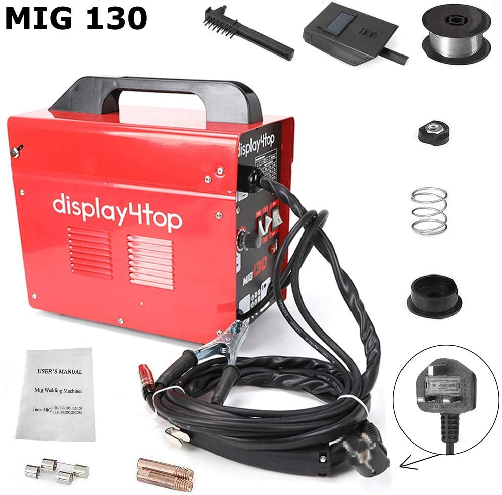 Display4top Professional Mig 130 Welder Gasless 230V No Gas with Mask & Welding Weld Wire with Brush/Tool Accessories,Fan Cooling,Red (MIG 130)