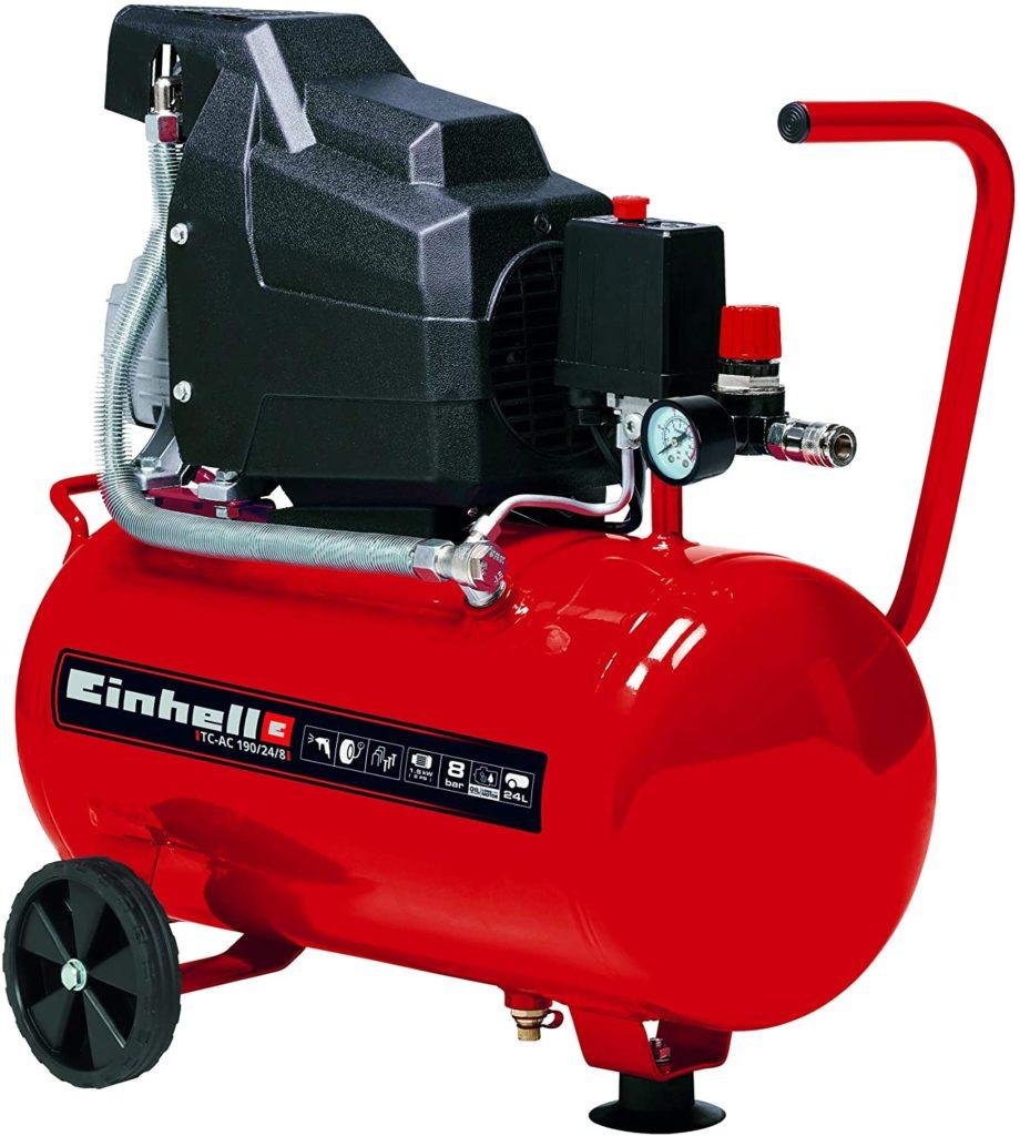 Einhell Compressor TC-AC 190/24/8 (Maximum 8 bar, 24 Litre Tank, Oil Lubrication, Pressure Reducer, Pressure Gauge + Quick-Release Coupling,...