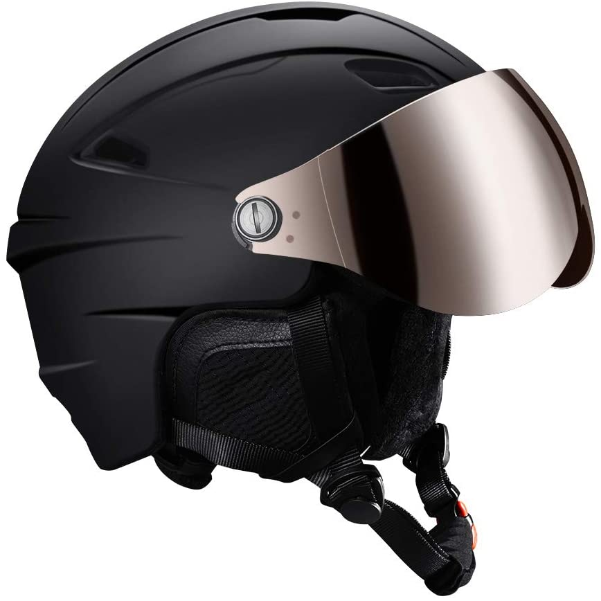 Kuyou Ski Helmets Snow Helmet with Detachable Ski Goggles Lens -EN1077 Certified Safety, Dial Fit, Warm Fluffy Earpads Snowboard Helmet for Men, Women & Youth