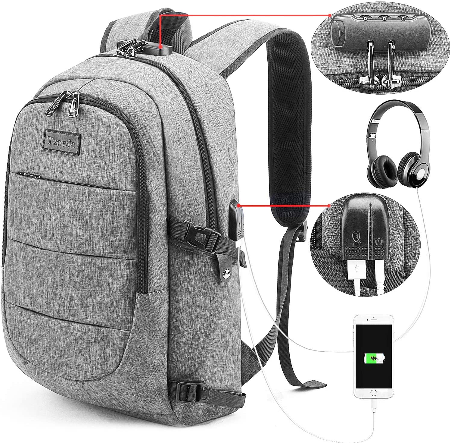 Laptop Backpack Water Resistant Anti-Theft Travel Bag with USB Charging Port and Lock 14/15.6 Inch Computer Business Backpacks for Women Men College School Student Gift,Bookbag Casual Hiking