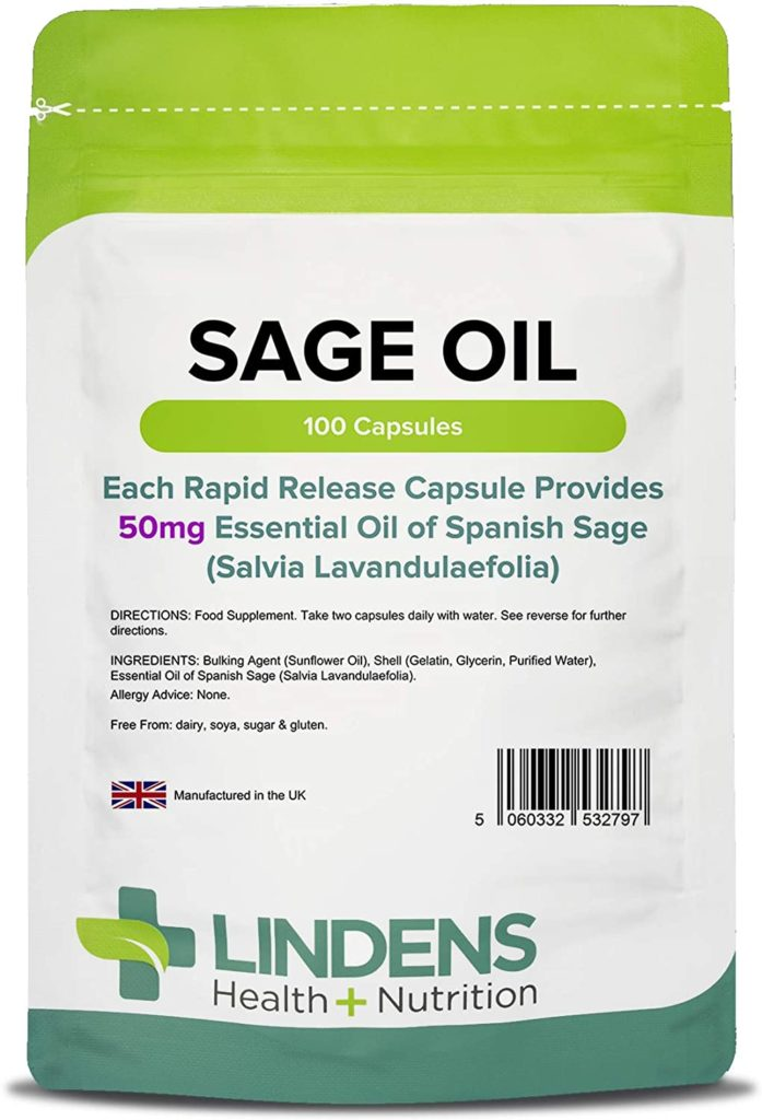 Lindens Sage Essential Oil 50mg Capsules | 100 Pack | Popular Food Supplement for Women During Menopause in A Rapid Release Softgel Capsule