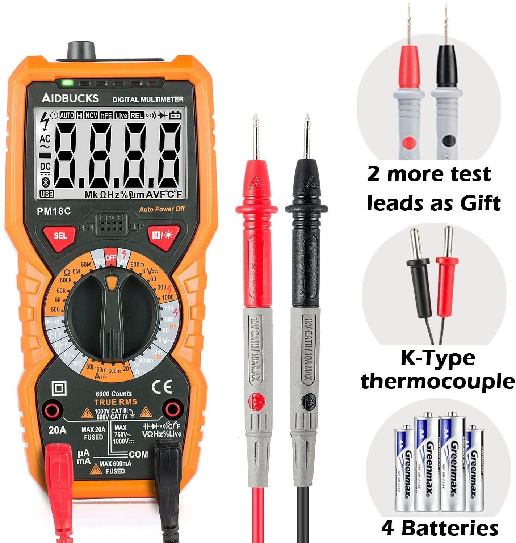 Multimeter Janisa PM18C Digital AC DC Voltage Current Resistance Tester True RMS 6000 Counts Amp Ohm Volt Multi Tester