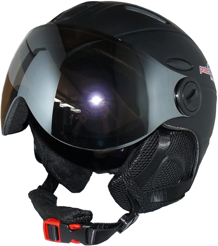 Protectwear Ski helmet MS95 black matt with two visors folding - XL
