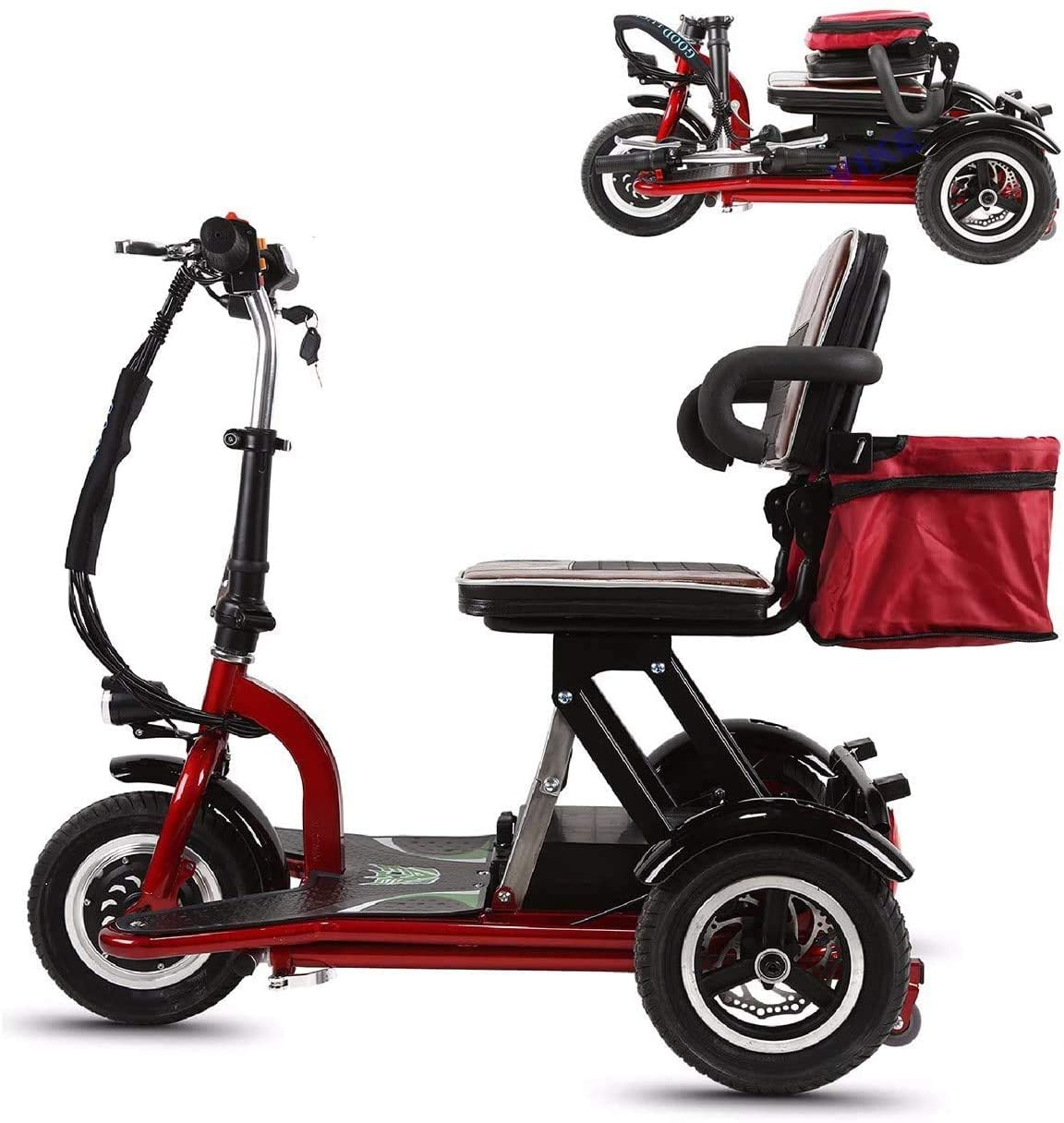 Qfzfei Folding Mobility Scooters,3 Wheeled Electric Mobility Scooter 300W Motor, 20km/H, 3 Speed Adjustment,Suitable For the Elderly, the Disabled, Adults (Size : 30KM)