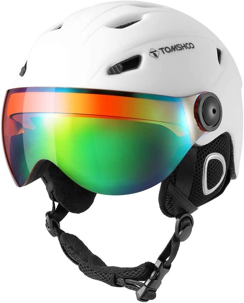 TOMSHOO Skiing Snowboard Helmet Certified Safety Helmet Professional Skiing Snow Sports Helmet Detachable Earmuff Built-in Goggles