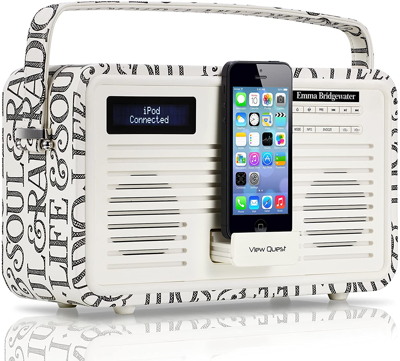 VQ Retro Emma Bridgewater DAB+ Radio with 30-Pin Dock - Black Toast For iPhone 3G/3GS/4/4S, iPad 2/3, iPod Touch 1/2/3)