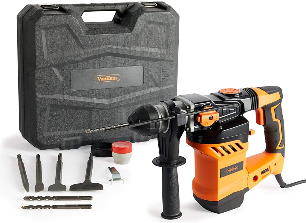 VonHaus Rotary Hammer Drill 1500W - SDS Hammer Impact Drill for Drilling and Chisel - Masonry & Demolition - Auxiliary Handle - 4 Functions - Compatible with SDS Plus & SDS Bits