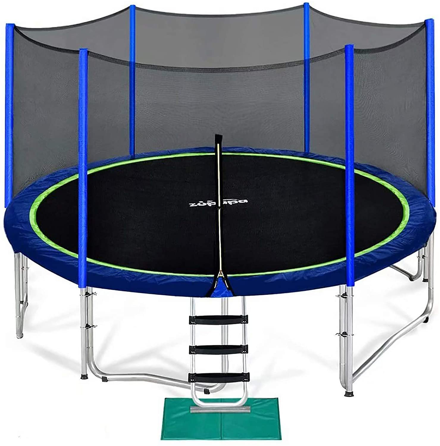 Zupapa 14ft Trampoline with Enclosure Net, Ladder, and Safety Jumping Mat