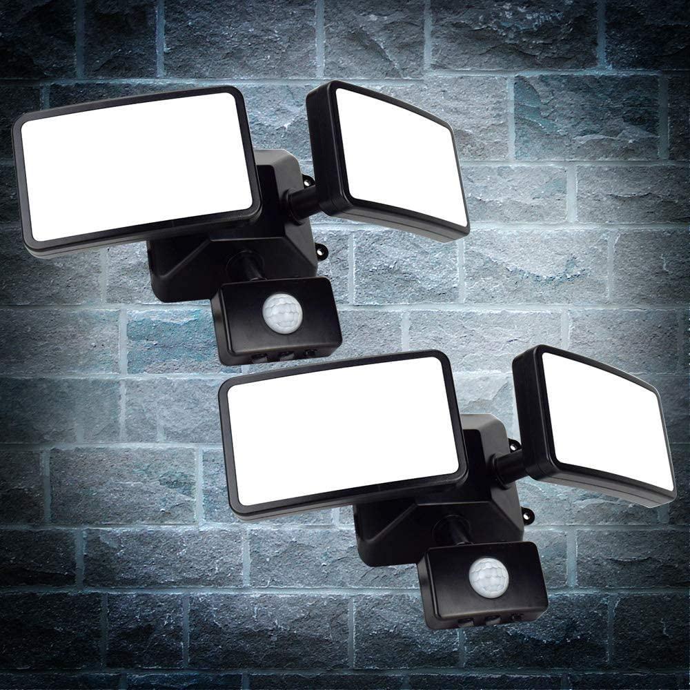 20w Outdoor Black PIR Security Flood Light,IP66 Waterproof Led Flood Lights,6000k 1600LM Motion Sensor Work Light,Led Motion Sensor Floodlights for Garden, Yard, Garage,Porch, Parking Lot,2 Pack