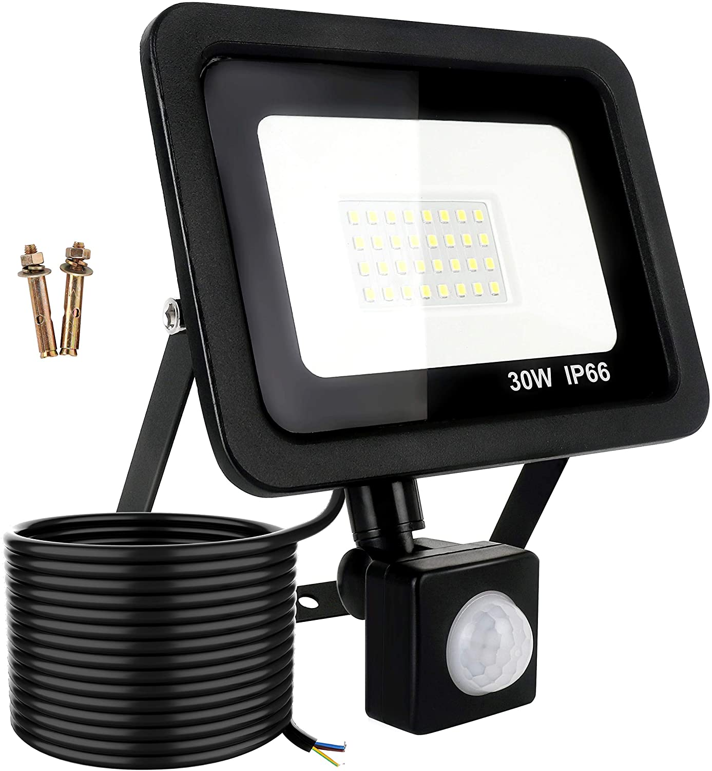 30W LED Floodlight with Motion Sensor, 2700LM Super Bright Security Light Outdoor, 1.5m Cable, Waterproof IP66, Daylight 6000K Spotlight for Garage, Garden, Yard and Sports Field (No Plug)