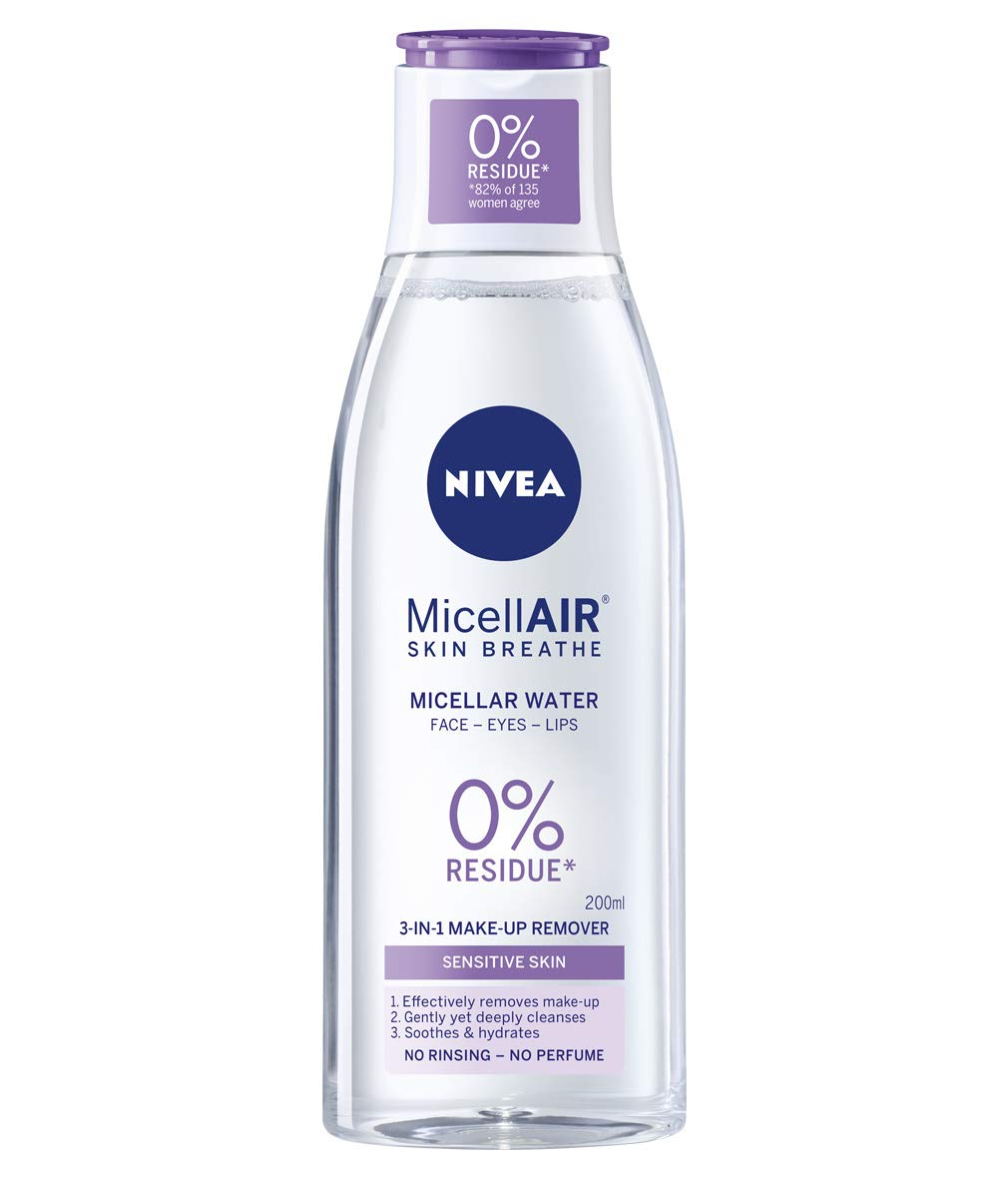 NIVEA MicellAIR Skin Breathe Micellar Water (200 ml), 3-in-1 Sensitive Make Up Remover, Micellar Cleaning Water, Gentle Moisturiser for Women