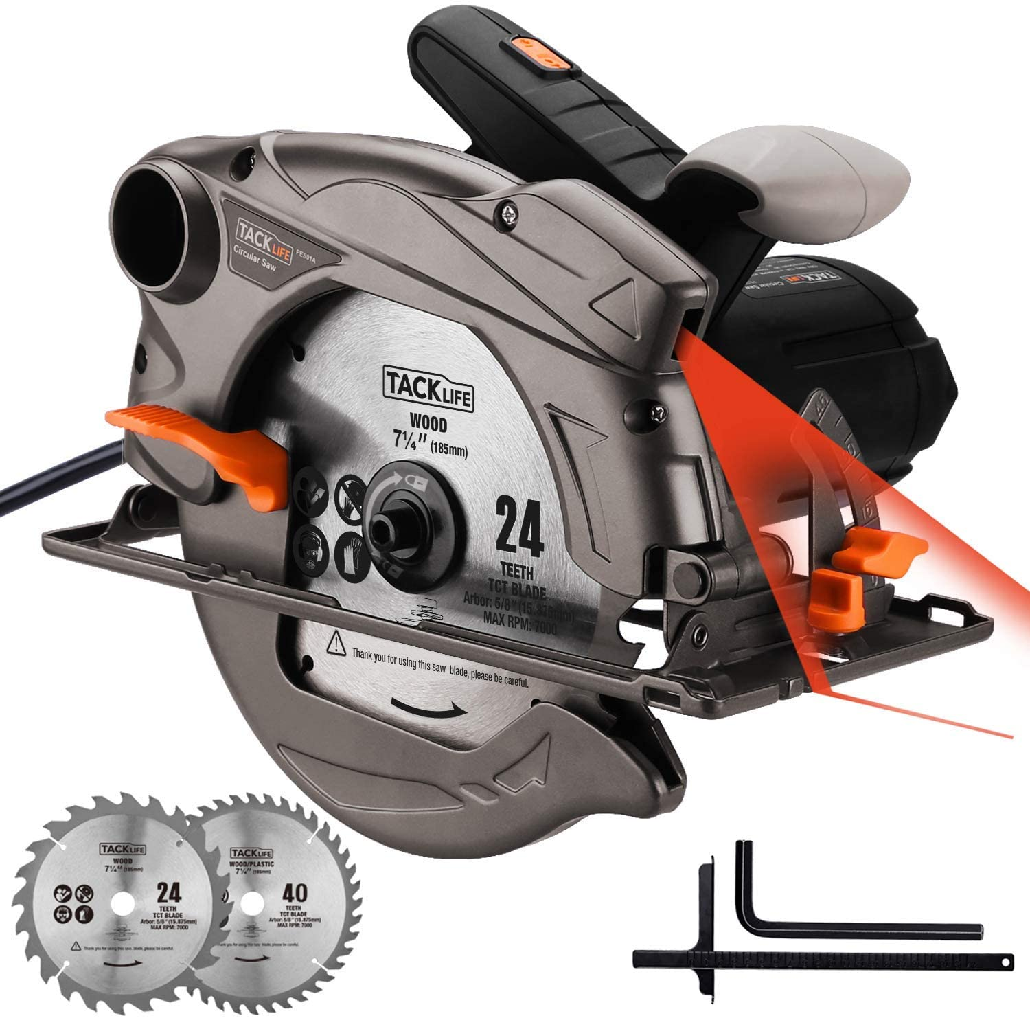 Circular Saw, TACKLIFE 4700RPM 1500W ELectric Saw , Cutting Depth 65mm (90º), 45mm (45º), Blade: 24T + 40T(185mm), Laser, Double Safety Switch, Ideal for DIY / PES01A