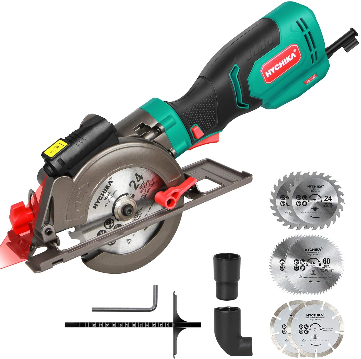 Circular Saw, HYCHIKA 750W 3500RPM Mini Circular Saw with 6 Blades(115 & 125mm), Laser Guide, Scale Ruler, Cutting Depth 48mm(90°), 32mm(45°), Compact Circular Saw for Wood, Tile and Soft Metal