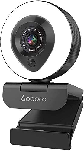 Aoboco Webcam with Dual Microphone and Ring light