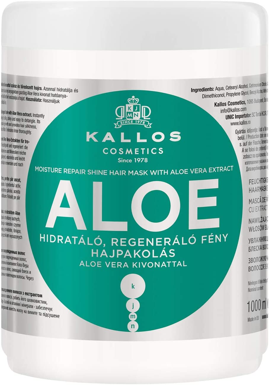 Kallos Kjmn Aloe Vera Moisture Repair Shine Hair Mask for Dry and Damaged Hair