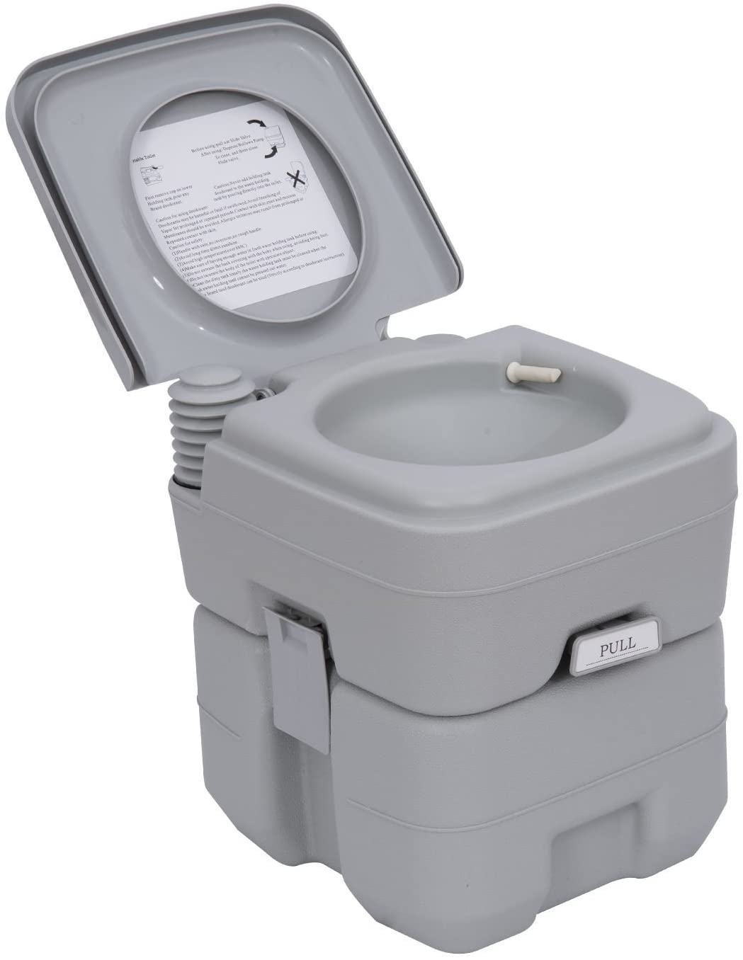 Outsunny Portable Travel Mobile Toilet Outdoor Camping Handle WC Grey
