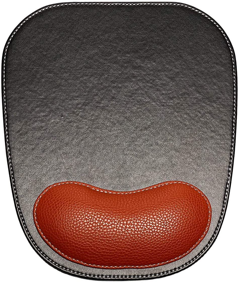 SANQIANWAN Leather Surface Mouse Pad with Wrist Support