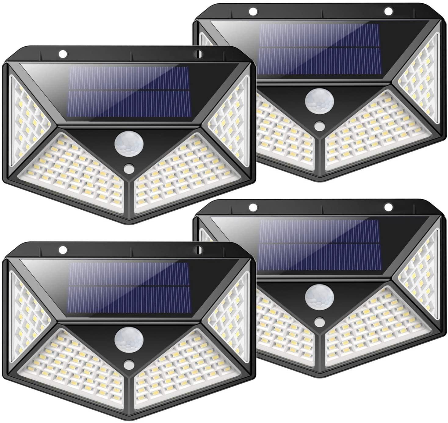 Solar Lights Outdoor, Kilponene [2200mAh Super Bright Energy Saving] 100 LED Motion Sensor Security Lights Solar Wall Lights 270º Solar Powered Lights Waterproof with 3 Modes for Outside (4 Pack)