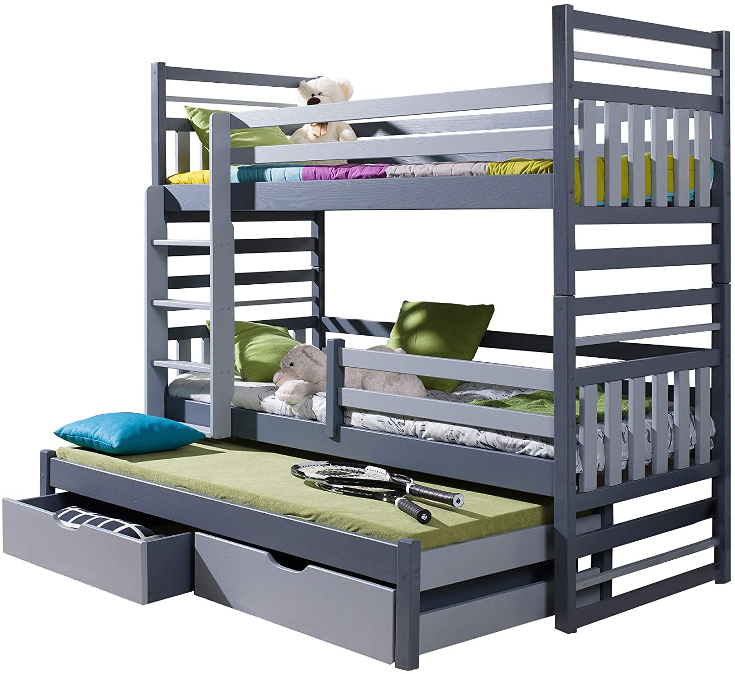 Triple Bunk Bed HIPPO Modern Trundle High Sleeper.