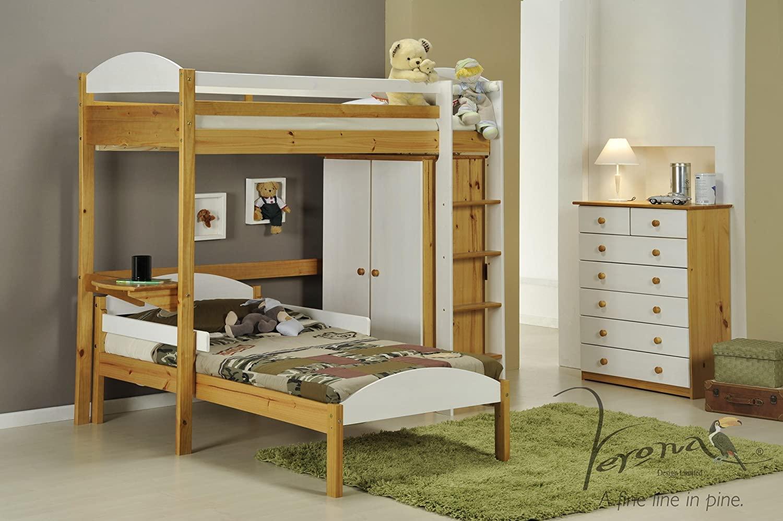 Verona Design Maximus L Shape Wooden High Sleeper Bed
