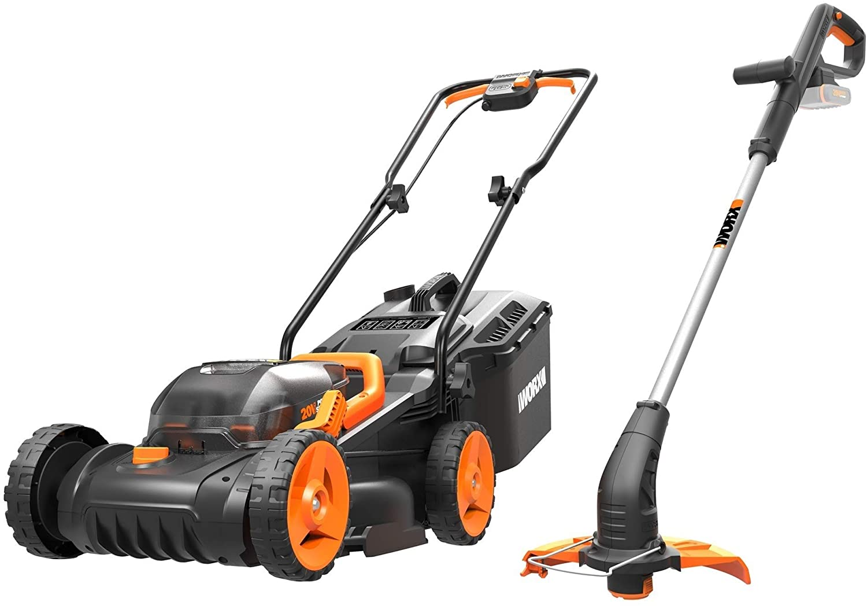 WORX WG927E Dual 20V Battery 34cm Cordless Lawn Mower & 18V (20V MAX) Cordless Grass Trimmer
