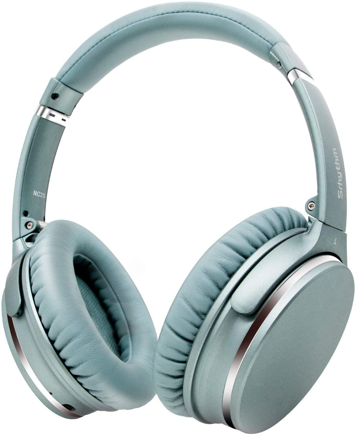 Wireless Active Noise-Cancelling Stereo Headphones Foldable,Srhythm NC25 Lightweight Headset Over-Ear with Hi-Fi,Built-In Mic,40mm HD Driver,Protein Leather Earpads (Mint Green)