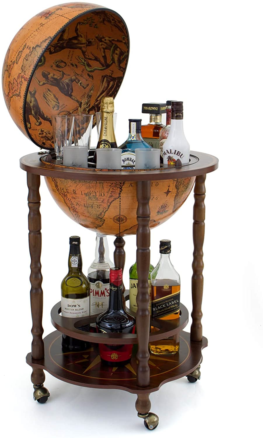 17th Century Italian Replica Globe Bar Cart Classica