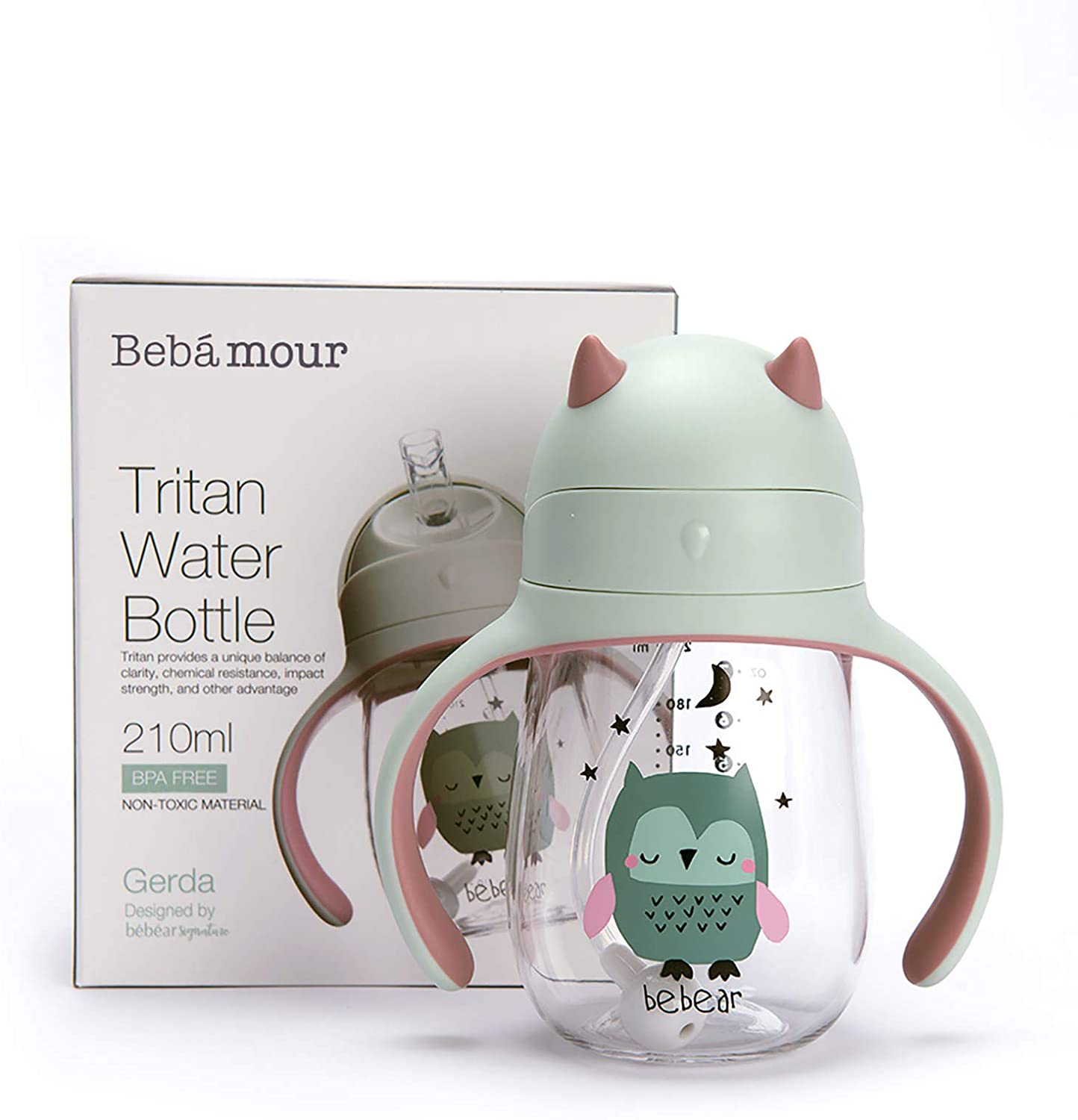 Bebamour Sippy Cup 6-36 Months Non-Spill Straw Cup for Toddlers Soft Spout Cup Spill Proof Water Bottler for Kids, BPA Free, 210ml - Green Owl