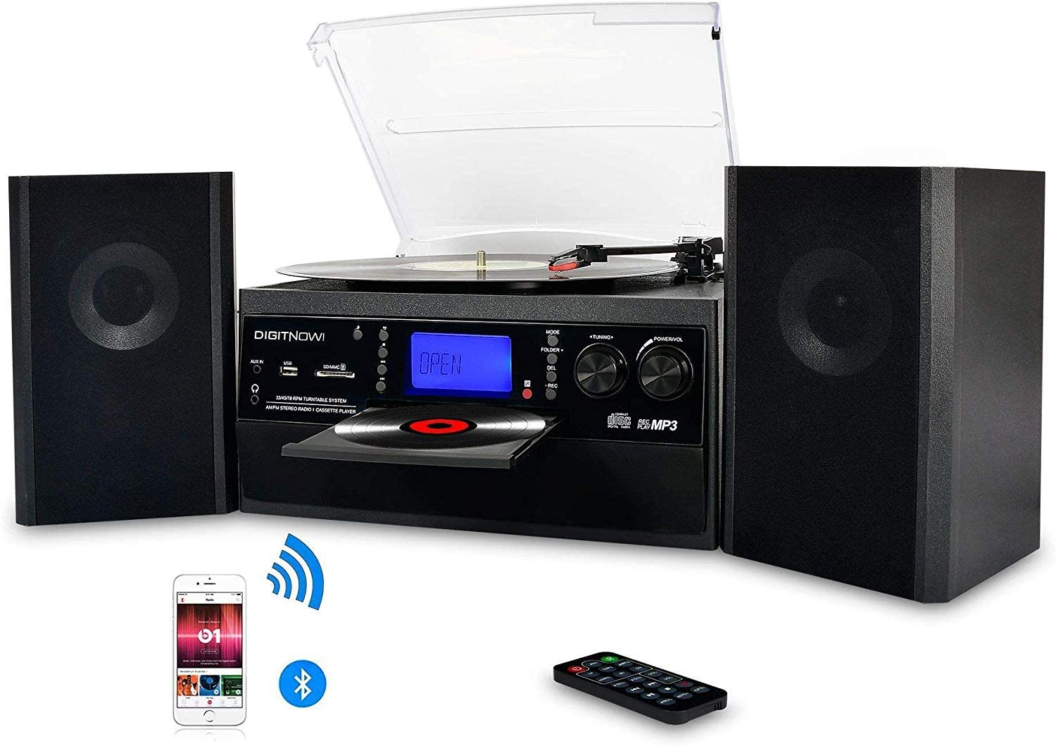 Bluetooth Vinyl DIGITNOW Record Player with External Speakers
