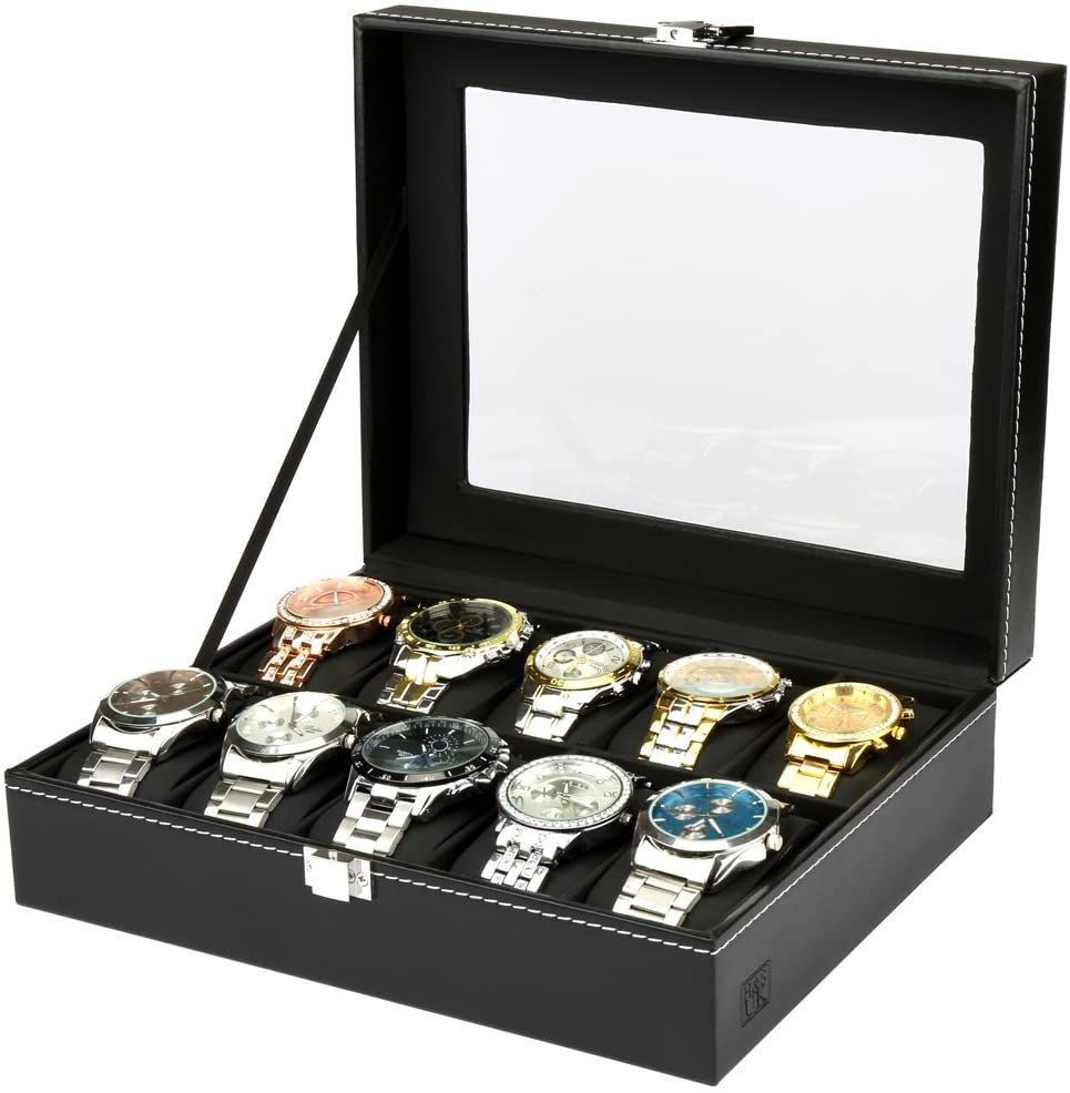 Glass Lid Watch Display Box H&S