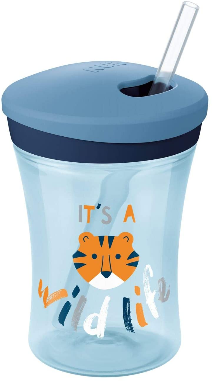 NUK Action Cup Toddler Cup   12+ Months   Twist Close Soft Drinking Straw   Leak-Proof   BPA-Free   230ml   Monkey (Blue)   1 Count