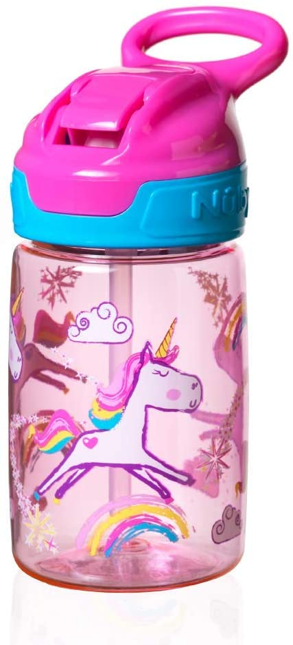 NubyTritan Sippy Cup, Incredible Gulp Active Toddler Cup, 360 ml, Pink Unicorn