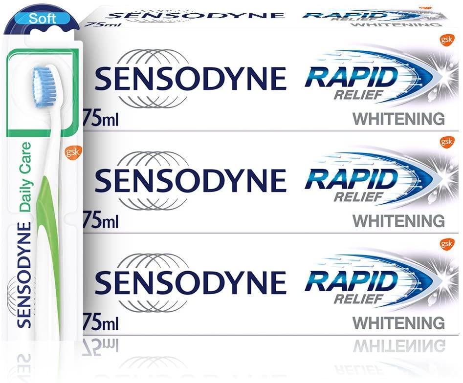 Sensodyne Sensitive Rapid Relief Whitening Toothpaste with Toothbrush Regime Kit