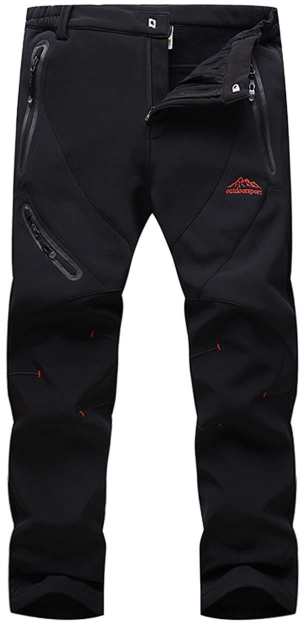 TACVASEN Men's Waterproof Softshell Breathable Warm Fleece Winter Lined Trousers
