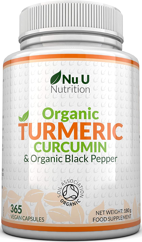 Turmeric Curcumin Organic High Strength 600mg, 365 Capsules with Organic Black Pepper