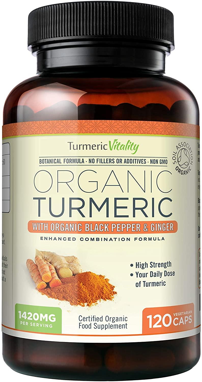 Turmeric Vitality Organic Turmeric Curcumin Capsules 1420mg High Strength