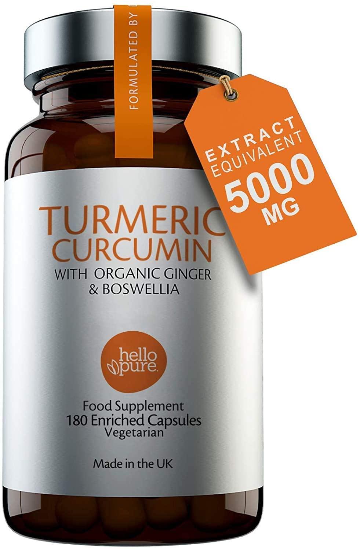 Vegan Turmeric 5000mg with Ginger & Boswellia (Rather Than Black Pepper) – 180 Vegan Turmeric Capsules Max