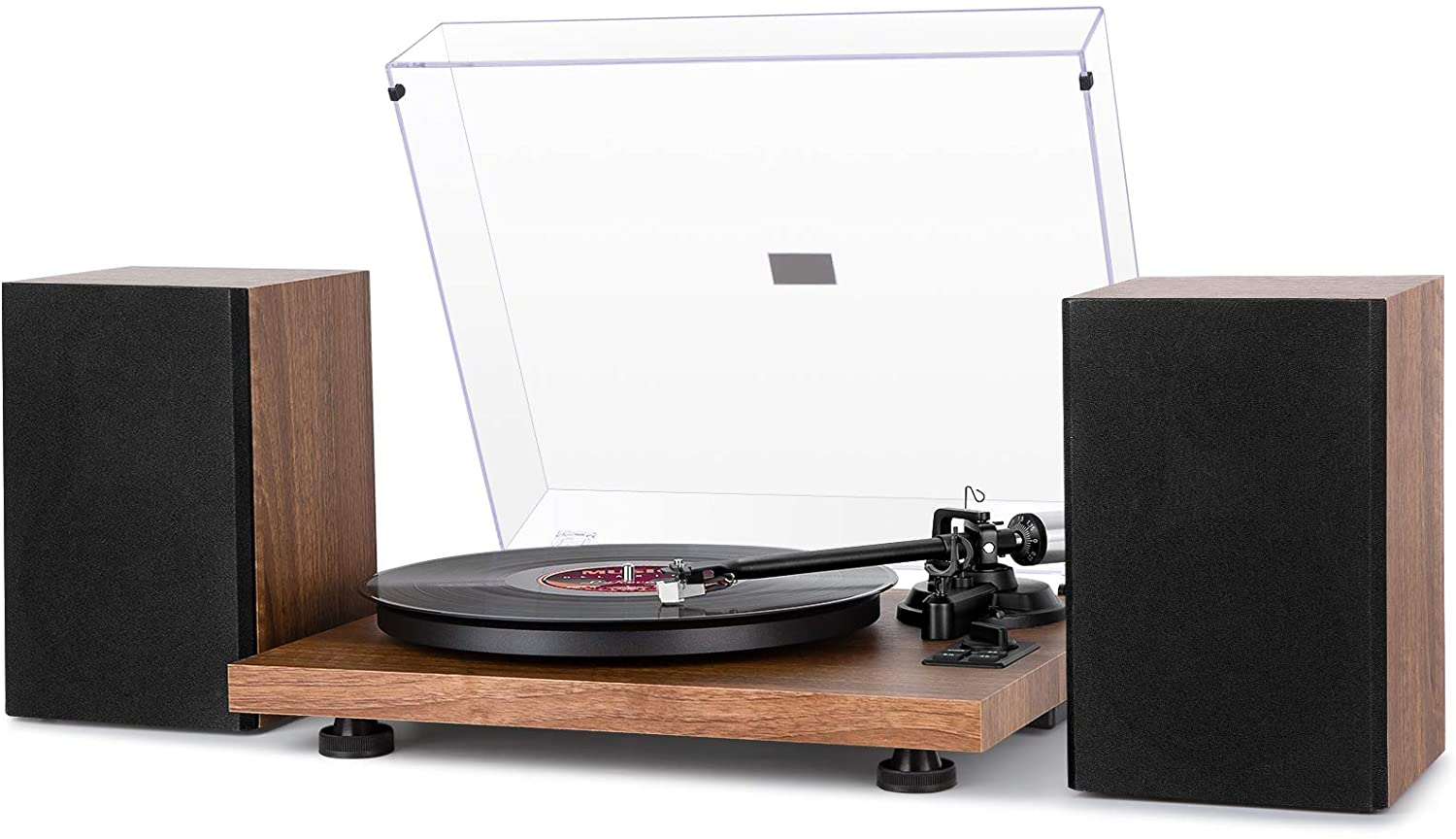 Versatile High-fidelity Record Player with Dual Speakers