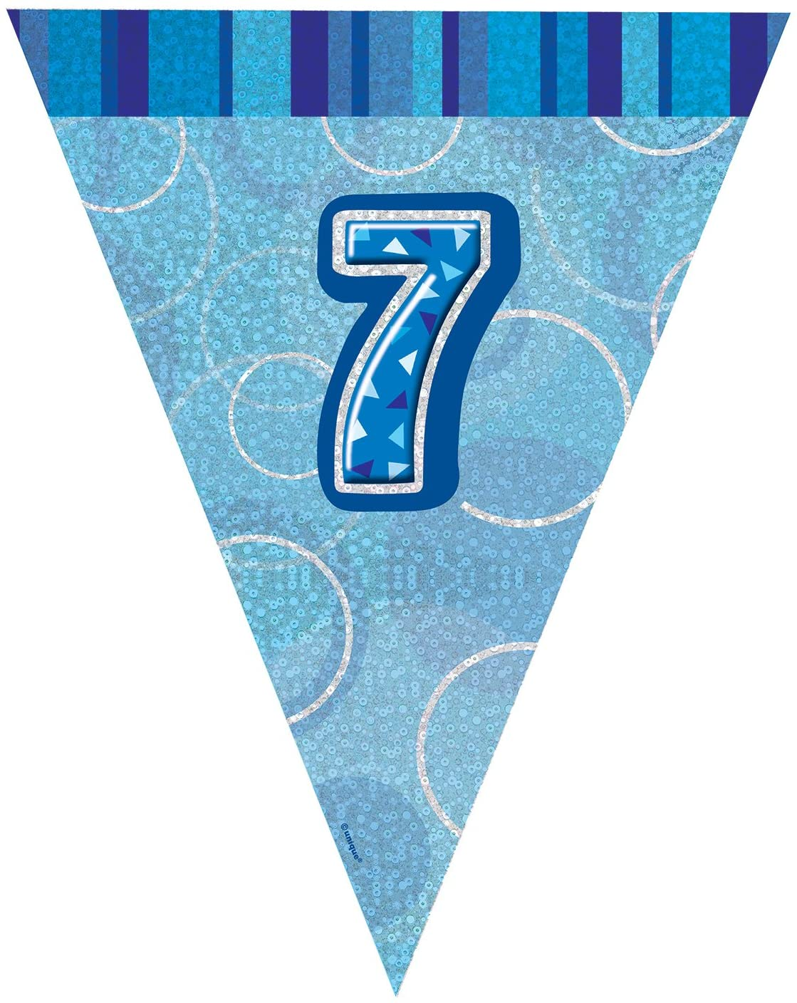 Unique Party 92147 - 9ft Foil Glitz Blue Happy 7th Birthday Bunting Flags