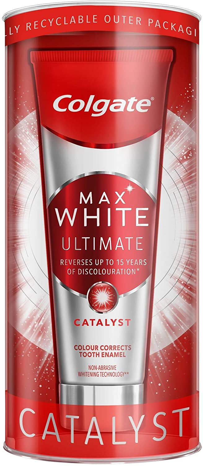 Colgate Max White Ultimate Catalyst Toothpaste 75 ml, Teeth Whitening and Colour Correcting Fluoride Toothpaste, Pack of 1
